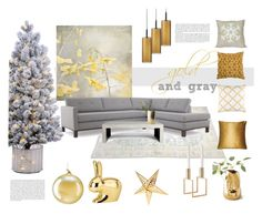 gold and gray by levai-magdolna on Polyvore featuring interior, interiors, interior design, home, home decor, interior decorating, Joybird, Sonneman, Ghidini 1961 and Frontgate