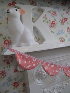 Mini Bunting Banner Decoration Retro Kittens Japanese by pinchface, $22.00