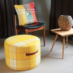 Vintage Wool Blanket Cushion And Ottoman From flaunt.com.au