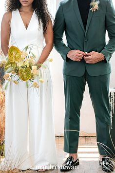 Since your micro wedding will likely be more casual, don't be afraid to show off your personal style with nontraditional fashion—like an Amsale jumpsuit and deep green ASOS tux (worn without socks). #weddingideas #wedding #marthstewartwedding #weddingplanning #weddingchecklist Green Tux, Groom Boutonniere, Bride Accessories, London Wedding, Floral Centerpieces, Event Design, Weddingideas, Wedding Details, Wedding Ceremony