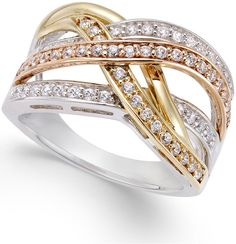 Diamond Tri Orbit Ring (1/2 ct. t.w) in 14k Two-Tone Gold and Sterling Silver