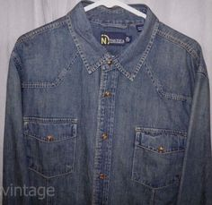 b74919906 Details about Wrangler Vintage Pearl Snap Button Front Long Sleeve Western  Plaid Shirt XL