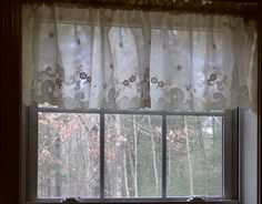 Charming Ecru Color Cotton/Poly Curtain Valance 63 x Lace Valances, Lace Curtains, Vintage Curtains, Shabby Chic Curtains, Window Coverings, Window Treatments, Ecru Color, Charmed, Cotton
