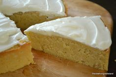 Flourless Whole Lemon Lemon Cake. (lemons, eggs, sugar, almond meal, baking powder, lemon extract, butter, icing sugar)
