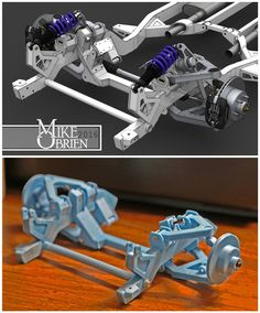 Why on earth have I waited this long to get a printer? I am completely addicted. Time to make working scale models of everything I have… Cantilever Suspension, Suspension Design, Miniatur Motor, Lowrider Model Cars, Rc Drift, Space Frame, Plastic Model Cars, 3d Prints, Diy Car