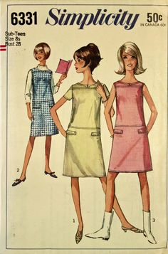 Dress or Jumper 1960's Simplicity Pattern by patterntreasury