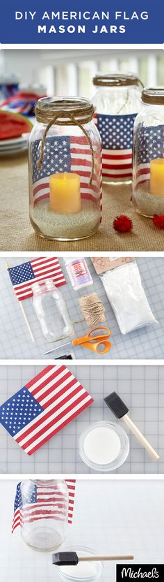 Brighten your home or patio with these patriotic DIY American Flag Mason Jar Votive Holders in just three simple steps. Apply adhesive to the flag with a foam brush and adhere to jar. Pour in sand and place a LED candle on top. Wrap and knot jute around the top of the jar! They are the perfect decoration for a backyard BBQ or a summer dinner at home. Find everything you need at your local Michaels to make your Independence Day celebration fun & festive!