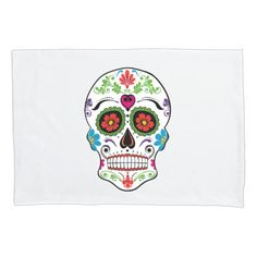 DAY OF THE DEAD SUGAR SKULL PILLOW CASE