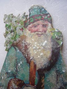Christbaumschmuck-Pappe-Weihnachtsmann-SOblate-Chromolithographie-1920-Nr-18