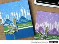 Create city skylines or bridge backgrounds with this set of Fancy Dies.    These intricate dies are stand-alone cutters that produce beautifully detailed paper-cuts. They work well with the Hero Arts line of stamps and papers.