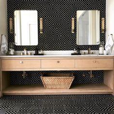 zenith - perpetual winner - floor to ceiling tile: zenith design Bathroom Vanity Units, Wood Vanity, Bathroom Floor Tiles, Wall And Floor Tiles, Bathroom Furniture, Vanity Mirrors, Black Tiles, White Tiles, Herringbone Wall