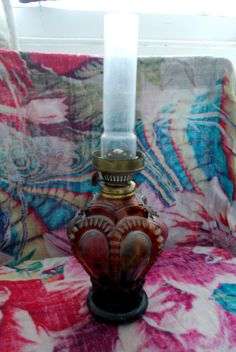 Stunning Shapely Translucent Claret-Red, Bottle-Green and Browny-Yellow Vintage Indian Oil-Lamp