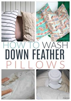 Read how to wash your down feather pillows without losing all of your feathers. #diypassionblog #housecleaning #cleaninghacks