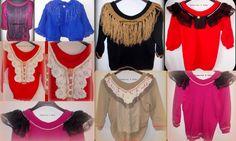 variedad de sweaters de lana tejidos a máquina con detalles variados, cuellos, encaje, volados, perlas fantasía, flecos,