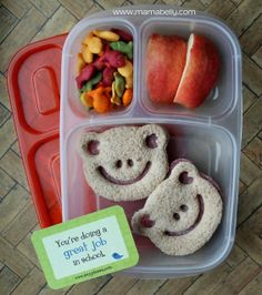 Simple Lunch for School in @EasyLunchboxes - made with @CuteZcute - and with a sweet #lunchbox_love card. By mamabelly.com