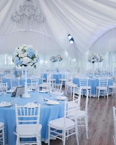 Deciding On Painless Secrets For Great Quinceanera Party Decorations - Happier Every Day Blue Wedding Receptions, Blue Wedding Decorations, Sweet 16 Decorations, Quince Decorations, Reception Ideas, Baby Blue Wedding Theme, Baby Blue Weddings, Blue Silver Weddings, Wedding White