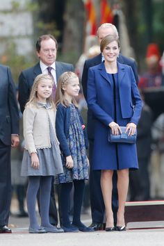 October 12, 2015 - Infanta Sofía, Princess Leonor & Queen Letizia attend the Spanish National Day military parade in Madrid.
