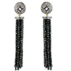 14K Gold Diamond Pave Gemstone Spinel Tassel Earrings Sterling Silver Jewelry PB #Handmade #DropDangle