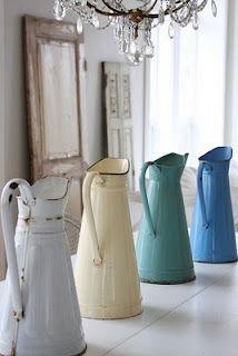 Vintage enamelware pitchers