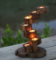 Romantic Wedding candlestick Decor wooden Candle Holder Candlestick Table Fashion Candelabra Home De Tea Light Candles, Tea Lights, Wooden Candle Holders, Candlestick Holders, Wax Flowers, Gift Flowers, Teak Furniture, Wood Gifts, Wood Slices
