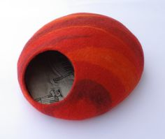 Cat bed/cat cave/cat house/fire/felted cat cave With by elevele, $67.00