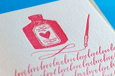 Sending you lots of love. Letterpress card. by inkandbelle on Etsy, $7.00