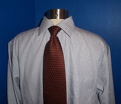 Brooks Brothers Shades of Blue Checked Non-Iron Cotton Dress Shirt Sz 16-34/35