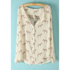 $11.25 Long Sleeves Chiffon Ladylike Style Zebra Print Shirt For Women