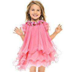 Pink Chiffon & Tulle Dress with Floral Applique, Lesy, Girl