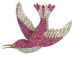 Fabergé Diamond and Ruby Bird Brooch