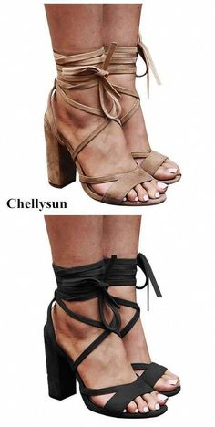 9d0b482001ca Chunky Heels pumps Lace up Faux Suede Strappy Sandals prom booys cute  unique vintage comfortable strappy low designer shoes casual heels  Chellysun heels