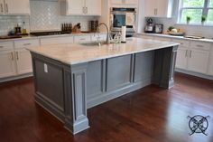 Want to Upgrade Your Kitchen Island? This is a super quick, inexpensive, easy weekend project, that provides a lot of character to an otherwise basic kitchen island by adding picture frame molding. In other words, you will get a lot of bang for you buck. Smart Kitchen, Modern Grey Kitchen, Grey Kitchen Designs, Basic Kitchen, Organized Kitchen, Awesome Kitchen, New Kitchen Cabinets, Kitchen Countertops, Kitchen Island Molding