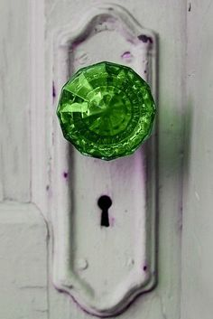 green glass doorknob