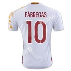 2016 European Cup Spain FÁBREGAS Away White Thailand Soccer Jersey