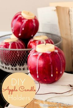 DIY Apple Candle Holders #diy #apples #candles #falldecor