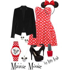 Minnie Mouse by lizzy-leigh on Polyvore featuring Mandi, Theory, Disney Couture, Disney and OPI