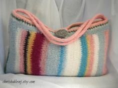 felted summer strip tote