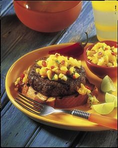 Caribbean Beef Burgers with Mango Salsa -- Sweet and heat join forces for a tropical taste adventure.