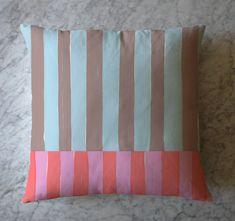 Stripe Pillow - Pink Orange Blue Brown