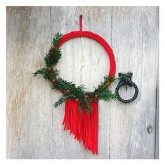 A unique, contemporary Christmas wreath with fringing. Available in a Red, Gold and White. The perfect alternative to a traditional wreath for your door.Perfect for a bohemian wedding or any celebration. This minimal wreath has been inspired by Na...