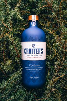 """Crafter's Gin for Liviko, Estonia. The aim was to create a strong shelf impact in crowded alcohol stand. Crafter's gin is produced in small batches and hand labelled – unique for the mass market production these days. Beverage Packaging, Bottle Packaging, Brand Packaging, Cheese Packaging, Design Packaging, Alcohol Bottles, Liquor Bottles, Gin Images, Whisky"