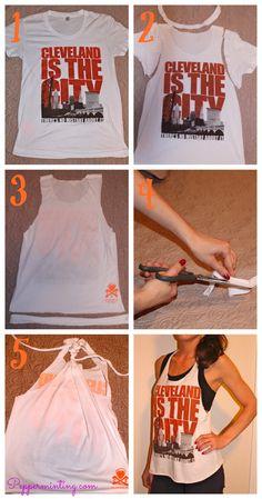 DIY! Cut an old tee shirt into a cute workout tank!