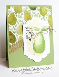 VIDEO Tips: Stampin' Up! Fresh Fruit Card for Stamp of the Month Club (August 2016) with Julie Davison www.juliedavison.com/clubs