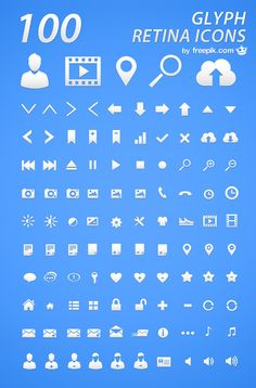 Freebie: Retina Glyph Icon Set (100 Icons in AI & PNG )