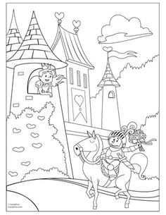 Fairy Tale Castle Coloring Page Fairytale On A Hill