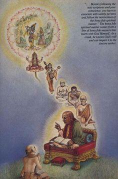 "ilookatyourshoes:  yasya deve parā bhaktir yathā deve tathā gurau tasyaite kathitā hy arthāḥ prakāśante mahātmanaḥ  ""Only unto those great souls who have implicit faith in both the Lord and the spiritual master are all the imports of Vedic knowledge automatically revealed.""   (Śvetāśvatara Upaniṣad 6.23)"
