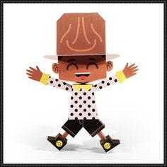 Pharrell Williams Happy, Happy Pharrell, Paper Art, Paper Crafts, Paper Models, Paper Toys, Free Paper, American Singers, Record Producer