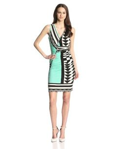 Plenty by Tracy Reese Women's V-Neck Large Geometric Placement Sleeveless Dress on hotgirlsclothes.com