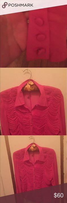 Chiffon top Ruched chiffon hot pink blouse Catherine Malandrino Tops Blouses