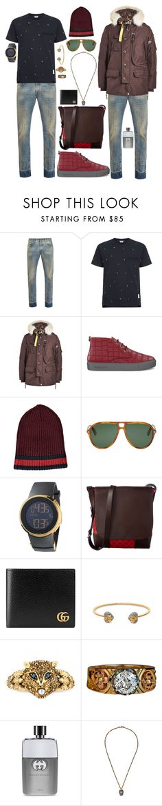 """Gucci"" by seniorswayout ❤ liked on Polyvore featuring Gucci, Thom Browne, Parajumpers, SWEAR, men's fashion and menswear"